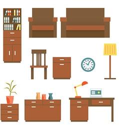 Office furniture Flat design Set vector image