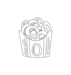 Onion Rings Hand Drawn Sketch vector