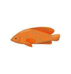 orange fish on white background water life vector image