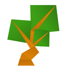 origami tree icon cartoon style vector image