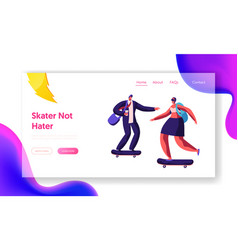 people characters skating skateboards website vector image