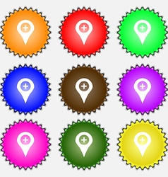 Plus Map pointer GPS location icon sign A set of vector
