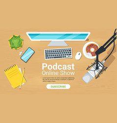 Podcast flat landing page template vector