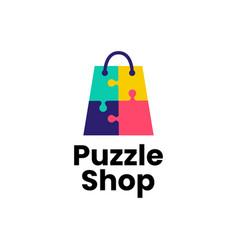 puzzle shop shopping bag logo icon vector image