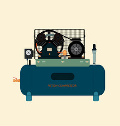 reciprocating piston air compressor vector image