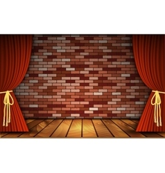 Red curtains on brick wall vector image