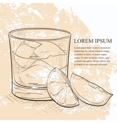 Rusty nail cocktail scetch vector