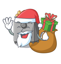 Santa with gift deep fryer machine isolated on vector