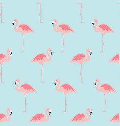 seamless pattern with cartoon pink flamingo bird vector image