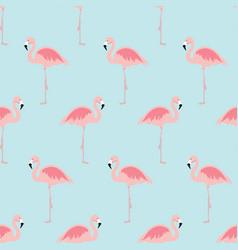 Seamless pattern with cartoon pink flamingo bird vector