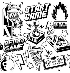 Seamless pattern with gamers elements vector