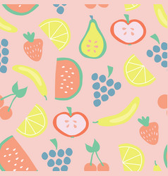 seamless summer fruit pattern background vector image