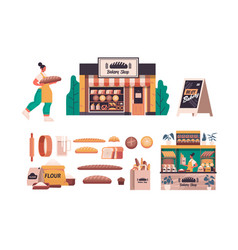 Set different bakery pastry products female baker vector
