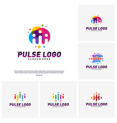 set of colorful pulse logo design concept people vector image