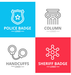 Set of crime law police and justice logo vector