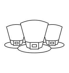 set of hat of leprechaun accessory outline vector image