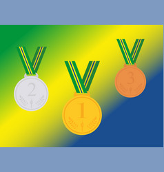 Set of winner medals with brazil ribbon isolated vector