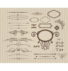 Set vintage calligraphic elements vector