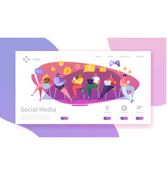 Social media services landing page marketing vector