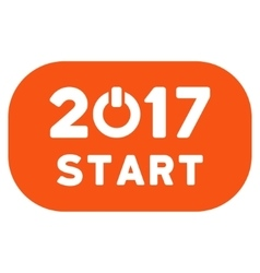 Start 2017 Year Rounded Button Flat Icon vector image