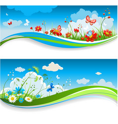 Summer positive banners vector image