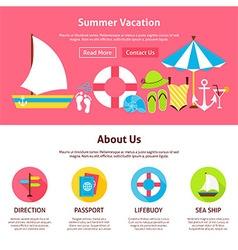 Summer Vacation Flat Web Design Template vector image