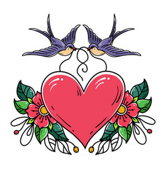 swallows carry red heart decorated with flowers vector image