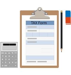 Tax form calculator eraser and pencil vector