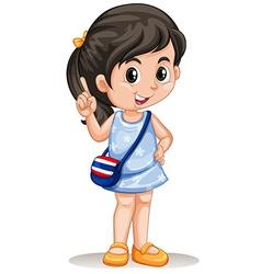 Thai girl with handbag vector