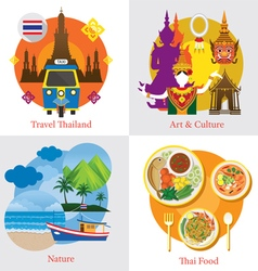 Thailand Travel Label Concept Set vector