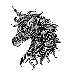 unicorn zentangle vector image