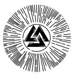 valknut sign god odin odins sign inscribed in vector image