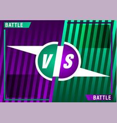 Versus screen design purple and green vs letters vector