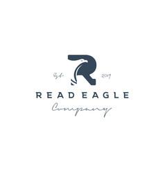 vintage initial letter r with eagle logo design vector image