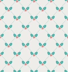 Vintage Seamless Wallpaper with Holly Berries vector image