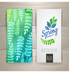 Watercolor brush strokes with floral elements vector image