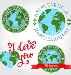 We love you Earth badge label logo greeting Card vector image