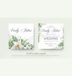Wedding double invitation invite card design vector