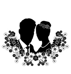 wedding silhouette with flourishes 8 vector image