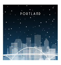 Winter night in portland night city in flat style vector
