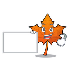 With board red maple leaf character cartoon vector