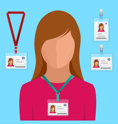 Woman in suit with red tie and id badge employees vector
