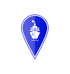 blue map pointer with ship boat vector image vector image
