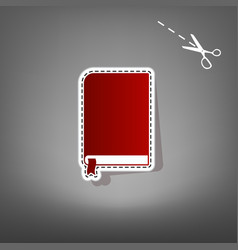 book sign red icon with for applique from vector image