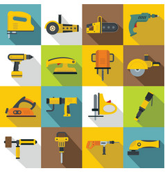 electric tools icons set flat style vector image
