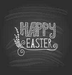 Happy Easter lettering on dark background vector image
