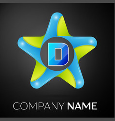 Letter d logo symbol in the colorful star on black vector