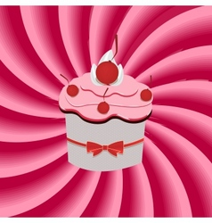 Strawberry cream abstract hypnotic background with vector image vector image