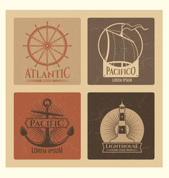 vintage nautical labels with light house sea boat vector image vector image