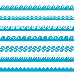 blue wave water icons set on white background vector image